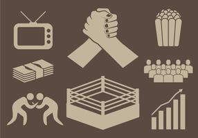 Ícones Wrestling vetor