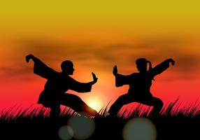 Casal Fazendo Wushu Ao Por Do Sol vetor