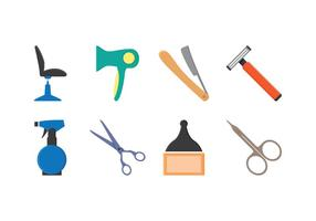 Conjunto grátis de ícones de barbeiro vetor