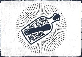 Mensagem grátis em um vetor de rotulação de mão de garrafa