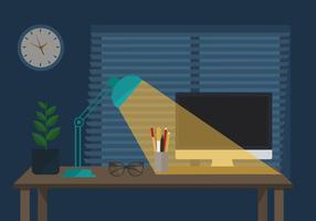 Ilustração da noite do vetor do espaço de trabalho livre