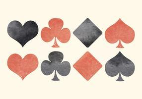 Símbolos de cartões de jogo de aquarela vetorial vetor
