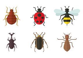 Ícones planos de insetos vetor