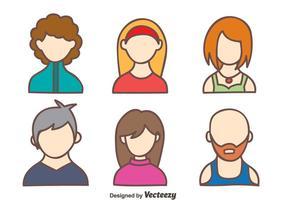 Vetor do Avatar das pessoas desenhadas à mão