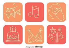 Ícones do quadrado do elemento da festa vetor