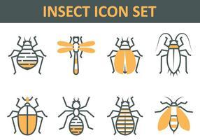 Conjunto de ícones de insetos vetor