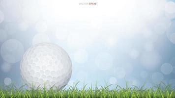 bola de golfe em campo de grama verde com bokeh azul vetor