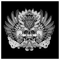 caveiras de grunge com asas de anjo e elementos tribais vetor
