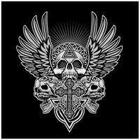 caveiras grunge com asas de anjo e cruz vetor