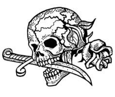 tatuagem de caveira em preto e branco com rosa e punhal