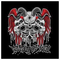 asas do crânio do inferno com asas de anjo vetor