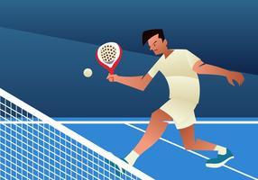 Jovem jogando tênis de padel vetor