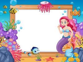tema sereia e animais marinhos com banner em branco vetor