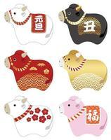 conjunto de mascote japonês do ano do boi vetor