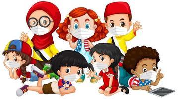crianças de múltiplas culturas usando máscaras vetor