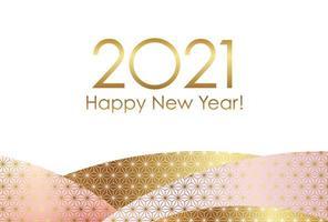 Modelo de cartão de ano novo de 2021 com padrões japoneses