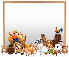 quadro em branco com conjunto de fazenda de animais isolado