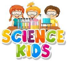 crianças de ciência com crianças no laboratório vetor