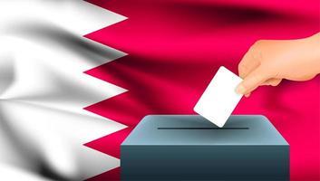 mão colocando cédula na urna com bandeira do Bahrein
