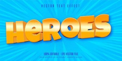 efeito de texto editável de estilo de jogo para celular heróis vetor
