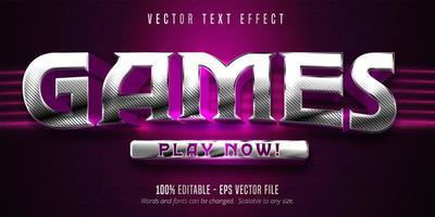 efeito de texto editável de estilo de jogos prata