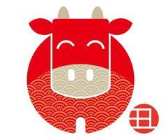 ano do design do selo vermelho do boi vetor