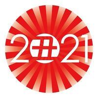Sinal da rodada de saudação de ano novo de 2021 vetor