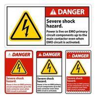 Conjunto de sinais de perigo de choque grave vetor