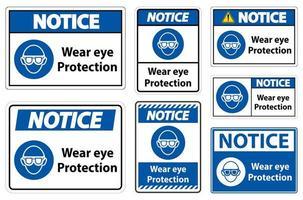 usar proteção para os olhos conjunto de avisos vetor