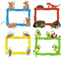 molduras de madeira coloridas vazias com animais e insetos vetor