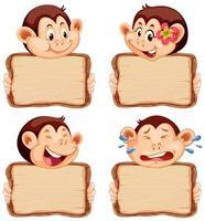 modelo de placa com macacos fofos em branco vetor