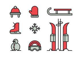 Conjunto de ícones de atividades de inverno vetor