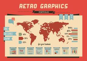 Vetor de gráficos retro do mapa mundial