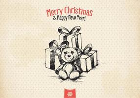 Vetor vintage do cartão de Natal do às bolinhas