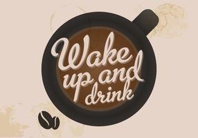 Acorde e beba um vetor de café
