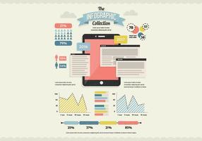 Vetor infográfico de comprimidos e dados