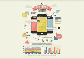 Vector de coleção de infographics de pesquisa móvel