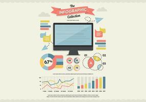 Monitorar vector de coleção de infografia