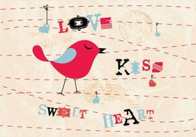 Amor, beijo, amor, pássaro, vetor