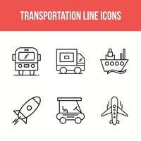 ícones de linha de transporte vetor
