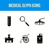 conjunto de 6 ícones de glifo médico vetor