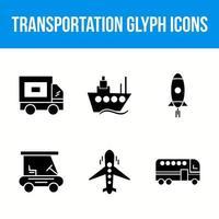 conjunto de ícones de glifo de transporte vetor