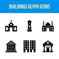 ícones de glifo de edifícios e pontos de referência vetor