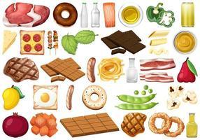 conjunto de objetos alimentares isolados vetor