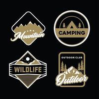 conjunto de emblemas de aventura em ouro e branco vetor