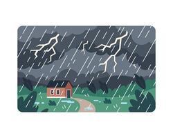 raio amarelo atinge casa durante tempestade vetor