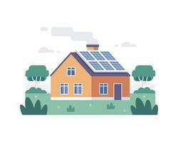 casa com painel solar vetor