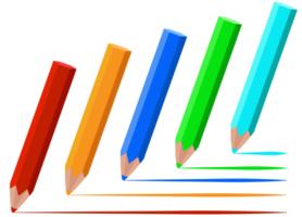 conjunto de lápis de cor de madeira vetor