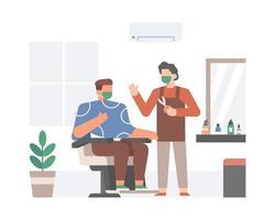 barbeiro e cliente usando máscara facial vetor