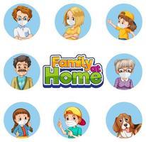 conjunto de personagens de membros da família com máscaras faciais vetor